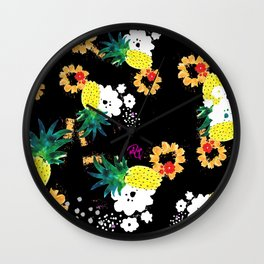 Floral Pineapple Punch DARK Wall Clock