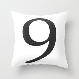 Number 9 (Black) Throw Pillow