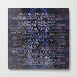 Yoga Asanas / Poses Sanskrit Word Art  Pearl on amethyst Metal Print
