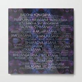 Yoga Asanas / Poses Sanskrit Word Art  Pearl on amethyst Metal Print