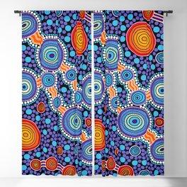 Authentic Aboriginal Art - The Journey Blue Blackout Curtain