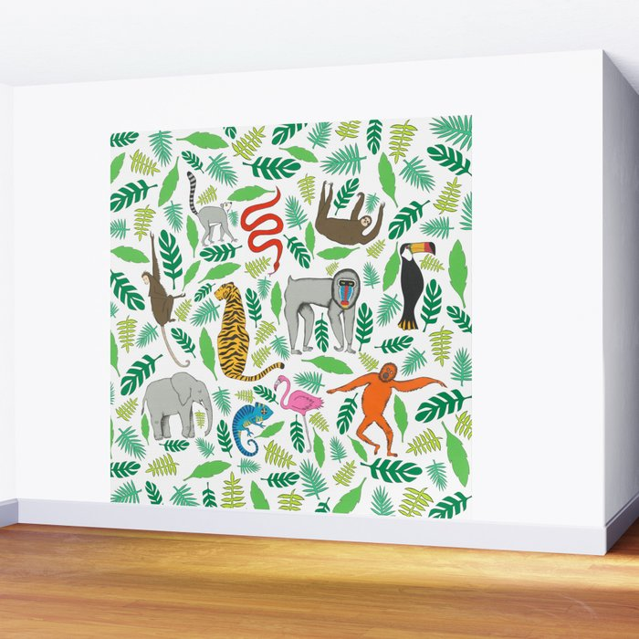 Animals in the Jungle Wall Mural