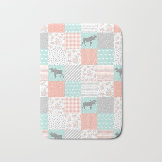 Modern quilt pattern square quilt baby nursery gender neutral gifts for new baby room Bath Mat