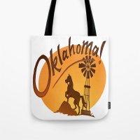 oklahoma Tote Bags featuring Oklahoma by Jacinta Eve