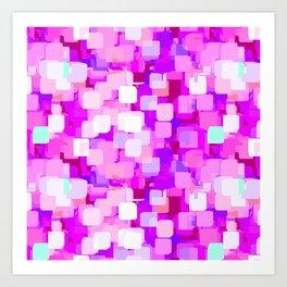 Sparkle Squares_magenta Art Print