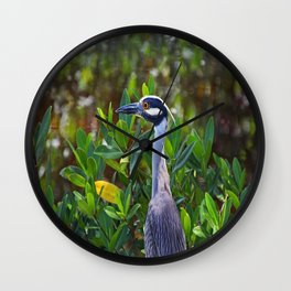 Yellow-crowned Night Heron Wall Clock
