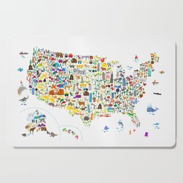 Animal Map of United States for children and kids Cutting Board