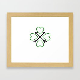 St. Patrick's Day Shamrock Lucky Charm Green Clover Veart with Arrows Framed Art Print