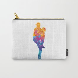 Watercolor Baseball Pitcher Carry-All Pouch