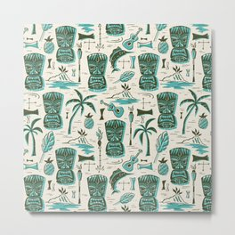Tropical Tiki - Cream & Aqua Metal Print