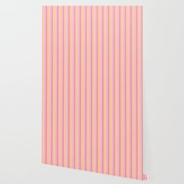 Hibiscus Hawaiian Flower Cabana Stripes in Pink, Yellow, Peach and Lilac Wallpaper