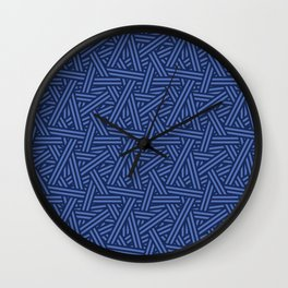 Interweaving lines in blue Wall Clock