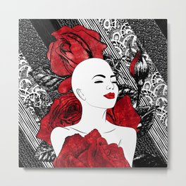 Woman with Red Watercolor Roses Metal Print