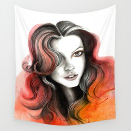 Red and Orange Flame Hair Wall Tapestry