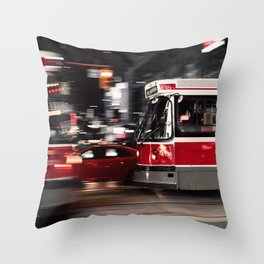Red buses street Throw Pillow