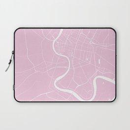 Bangkok Thailand Minimal Street Map - Pastel Pink and White Laptop Sleeve