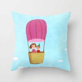 Hot Air Love Ballon Throw Pillow