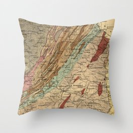 Vintage Geological Map of Virginia (1874) Throw Pillow