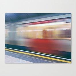 Speeding in London Underground Station Canvas Print
