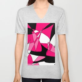 Windy Peaks - Abstract Pinks on Black Unisex V-Neck