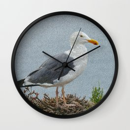 western gull - painting Wall Clock