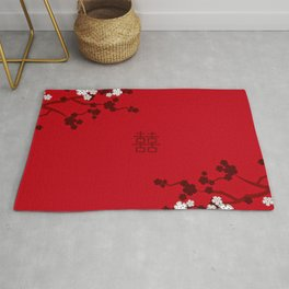 White Oriental Cherry Blossoms on Red and Chinese Wedding Double Happiness Rug