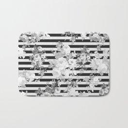 Elegant black white vintage floral modern stripes Bath Mat