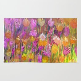 Field of Flowers in Yellow and Pink Rug