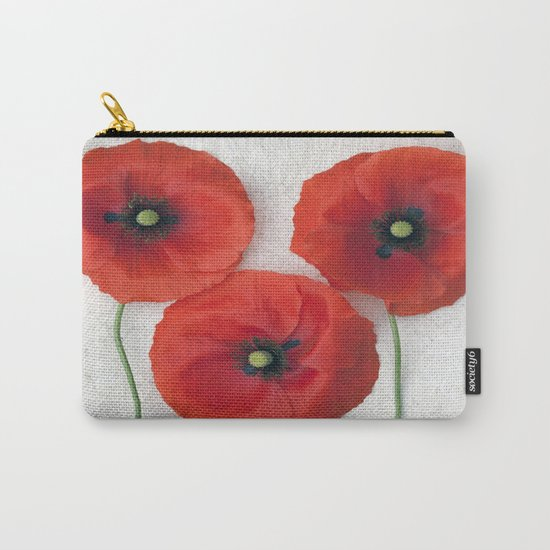 Three red Poppies III Carry-All Pouch