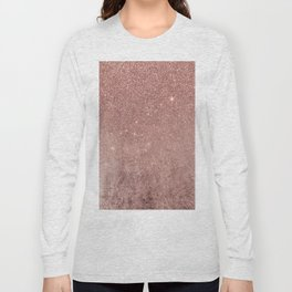 Girly Glam Pink Rose Gold Foil and Glitter Mesh Long Sleeve T-shirt