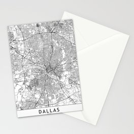 Dallas White Map Stationery Cards