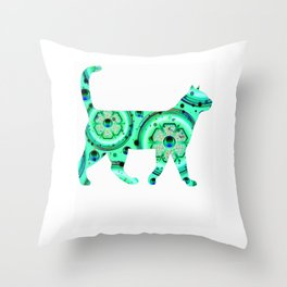 Greeen Sparkle cat Throw Pillow