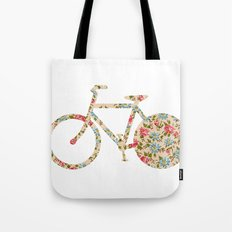 Whimsical cute girly floral retro bicycle Tote Bag