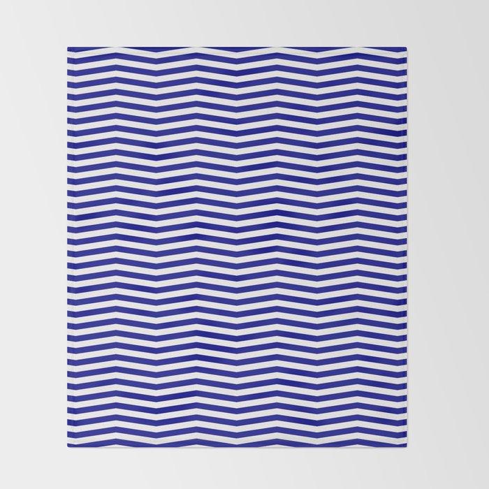 Australian Flag Blue And White Wavy Chevron Stripe Throw Blanket By Podartist
