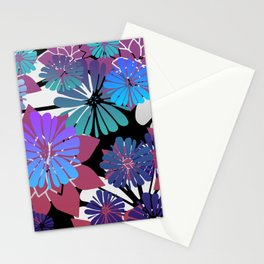 Colorful Flower Blossoms blue pink  Stationery Cards