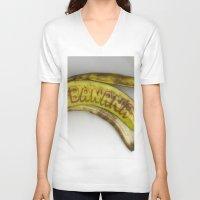 banana V-neck T-shirts featuring Banana by Abby Hoffman