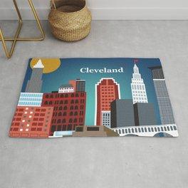 Cleveland, Ohio - Skyline Illustration by Loose Petals Rug