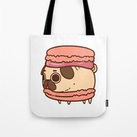 macaron Tote Bags featuring Puglie Macaron by Puglie Pug