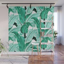 jungle leaf pattern mint Wall Mural