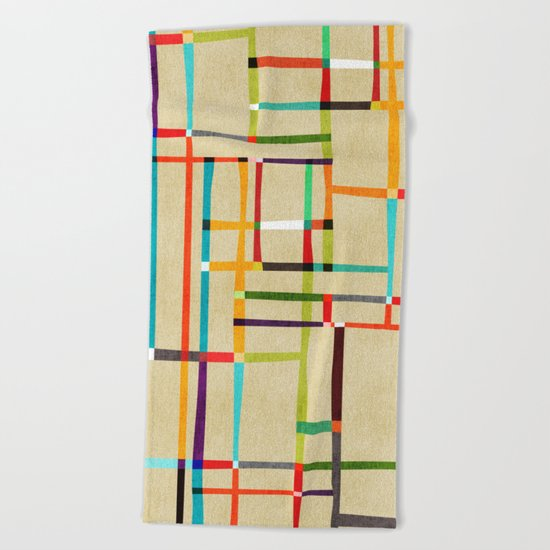 The map (after Mondrian) Beach Towel