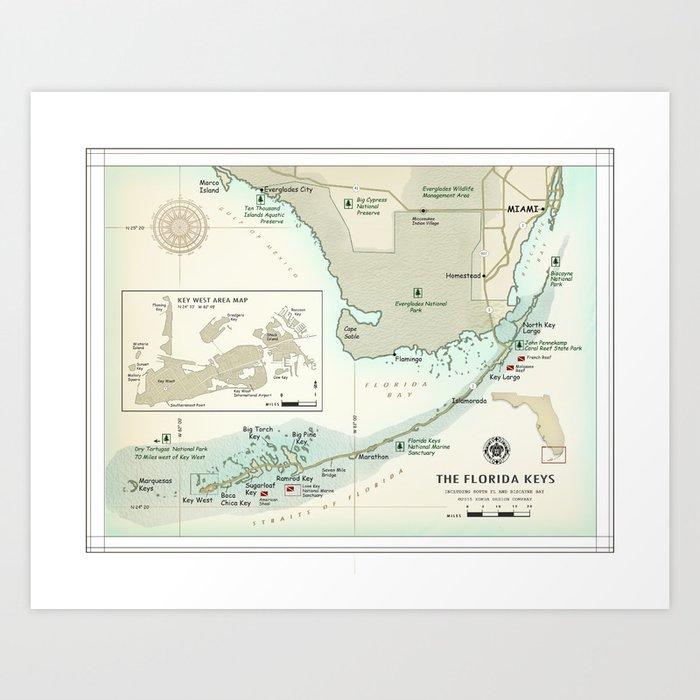 graphic relating to Printable Map of Florida Keys called South Florida and the Florida Keys Local map Artwork Print