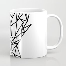 Dragon Head Front Low Poly Black and White Coffee Mug