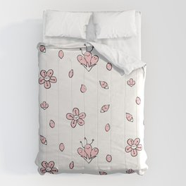 Sweet Sakura Smiles - Springtime - White and Blushing Pink Comforters