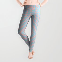 geometric, pink on blue Leggings