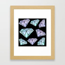Blue and Purple Diamond Pattern on Black Framed Art Print