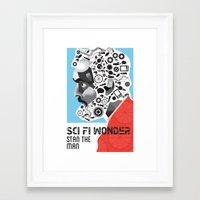 stanley kubrick Framed Art Prints featuring Stan the Man: Stanley Kubrick by kelsea everett