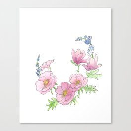 Scribble Watercolor Florals Canvas Print