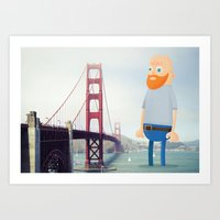 Self Portrait at golden gate bridge Art Print