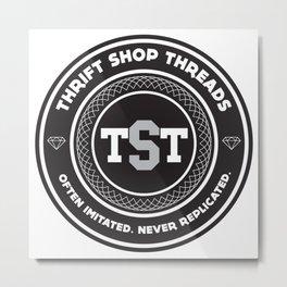 Thrift Shop Threads Button_College Metal Print