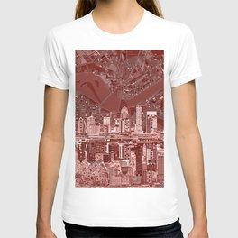 louisville city skyline red T-shirt